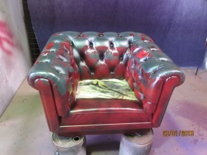 Chesterfield Leather Lounge Restoration Before